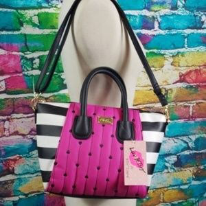Betsey Johnson Pink Black Crossbody Purse NWT